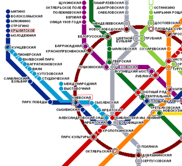 Схема московского метро  Katerina Hotels